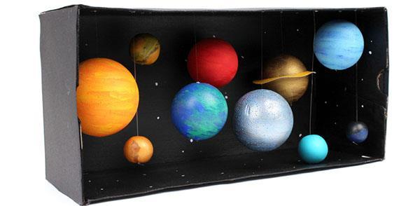 Sistema solar montado em uma caixa