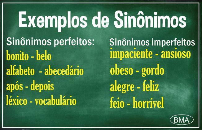 Exemplos de sinônimos