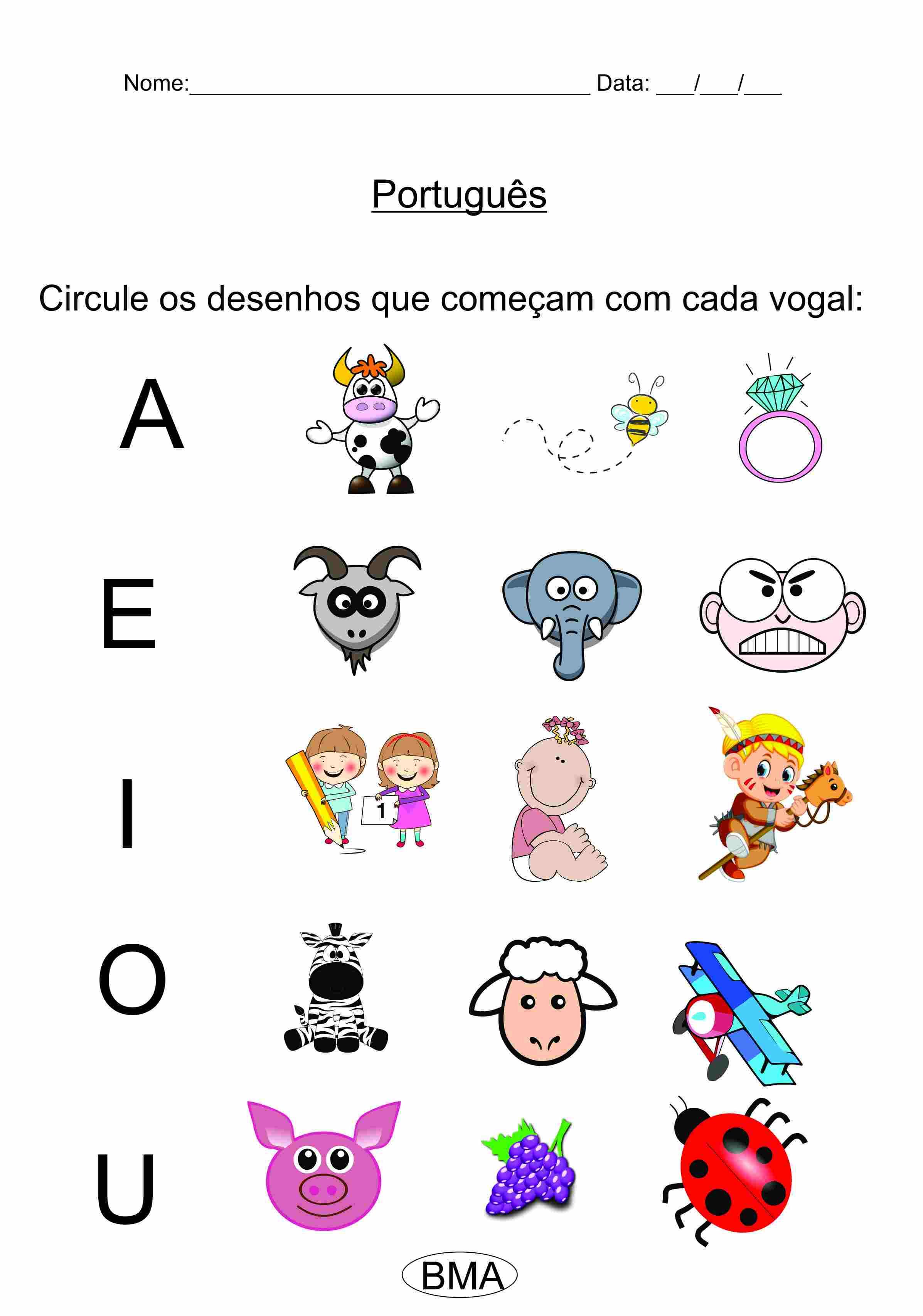 atividades de Português 1 ano
