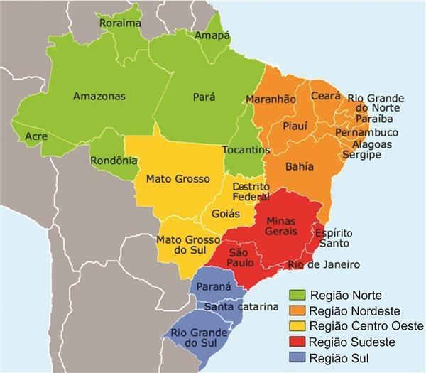 mapa do brasil por regioes