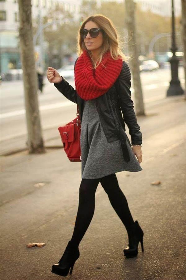 moda cinza com vermelho