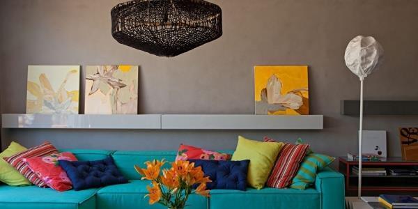 parede-cinza-decoração com detalhes